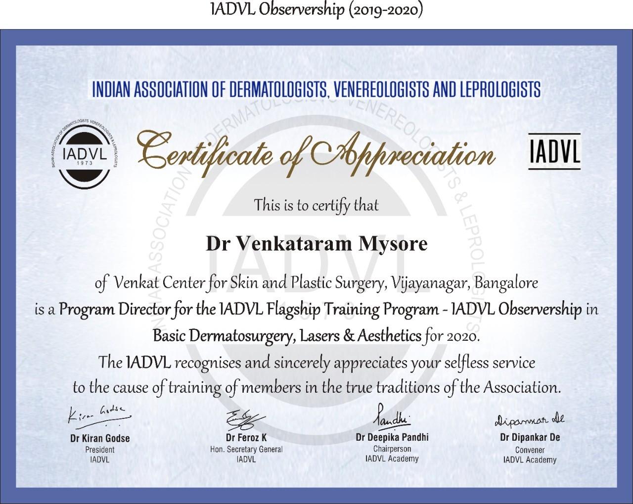 IADVL Certificate of Appreciation 1